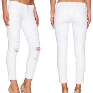 J brand white demented crop distress skinny jeans